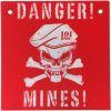 Cedulka DANGER MINES červená