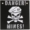 Cedulka DANGER MINES černá